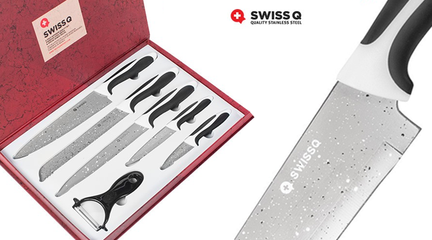 Conjunto de Facas de Aço Inoxidável com Revestimento em Cerâmica Swiss Q!