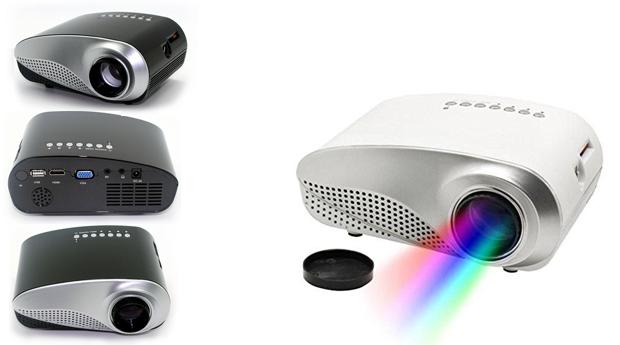 Mini Projector LED de Alta Resolução com Entradas HDMI, VGA, AV, USB, SD, TV!