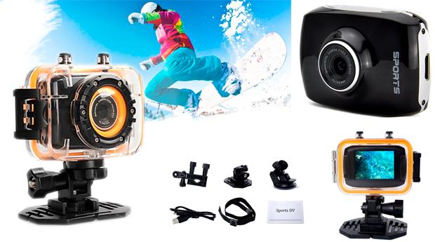 Câmara Desportiva à Prova de Água 1080p, 12 Mpx e 5.0 Full HD! Entregas em 48 Horas!