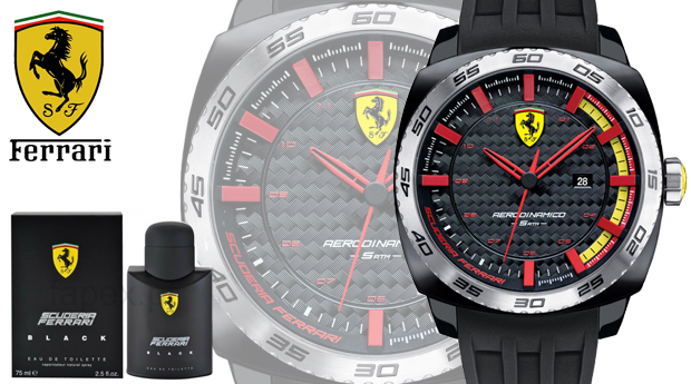 07771173d6b Conjunto Relógio Ferrari® Scuderia Aerodinâmico Black com Perfume Ferrari  Black de 75ML! (Entregas em 48 Horas)