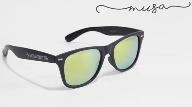 Óculos de Sol Quadrados Stafford Black da Musaventura! Lente Espelhada com Proteção UV400!