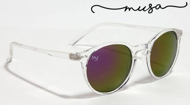 Óculos de Sol Monterey Cristal da Musaventura! Lente Espelhada com Proteção UV400!