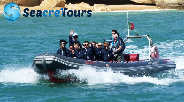 Descobre os Encantos da Costa Algarvia -  Passeio de Semi-Rígido Grutas & Golfinhos em Albufeira!