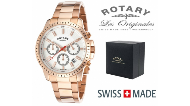 Relógio Rotary Switzerland® Rose Gold Cronógrafo