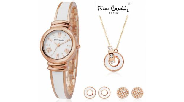 Conjunto Pierre Cardin® White Rose  -  Relógio  -  Colar  -  4 Brincos