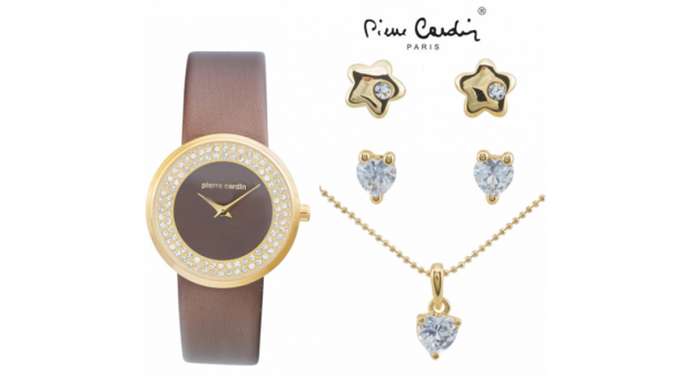 Conjunto Pierre Cardin® Golden Stars  -  Relógio  -  Colar  -  4 Brincos