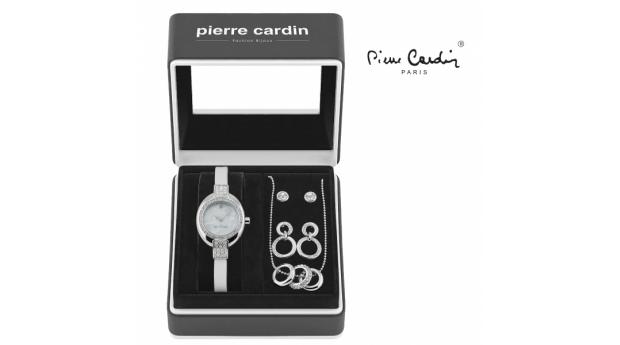 Conjunto Pierre Cardin® White Silver Hoops  -  Relógio  -  Colar  -  4 Brincos