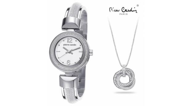 Conjunto Pierre Cardin® Classic Charm Silver  -  Relógio  -  Colar