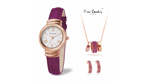 Conjunto Pierre Cardin® Women´s Purple Gold   -  Relógio  -  Colar  -  2 Brincos