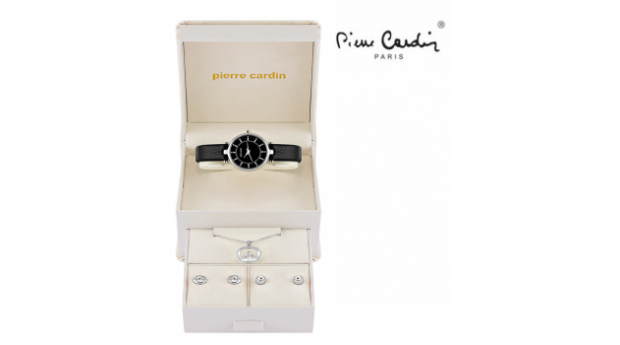Conjunto Pierre Cardin® Women´s Classic Black Silver  -  Relógio  -  Colar  -  4 Brincos
