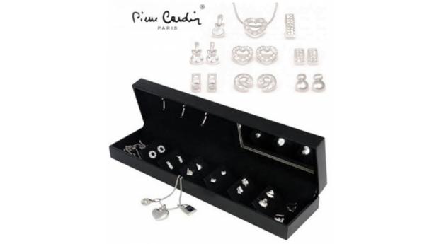 Conjunto Pierre Cardin® Crystal Pendant Silver  -  1 Colar, 6 Pares Brincos e 3 Pendentes