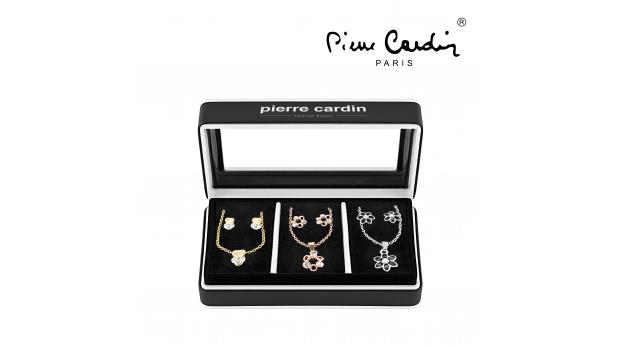 Conjunto Pierre Cardin® 3 Colares e 3 Brincos com Cristais  -  Prateado, Dourado e Rose Gold