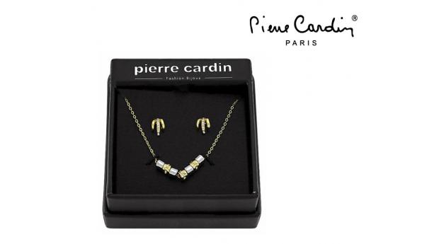 Conjunto Pierre Cardin® Gold and Silver Cubes  -  1 Colar e Brincos