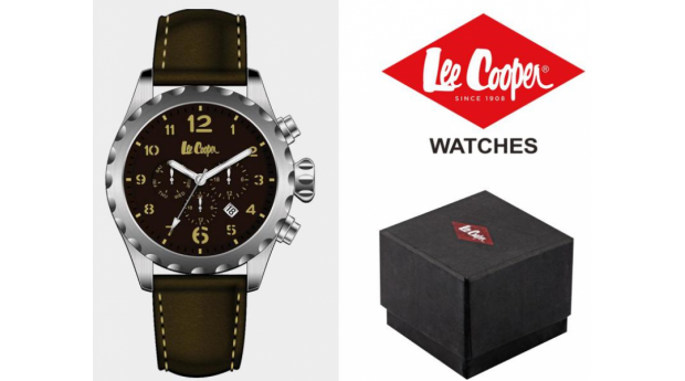 Black Week! Relógio Lee Cooper® Bracelete em Pele Genuína LC-47G-E  -  5ATM
