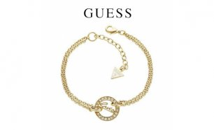 Black Week! Guess® Pulseira Logo Disc Gold