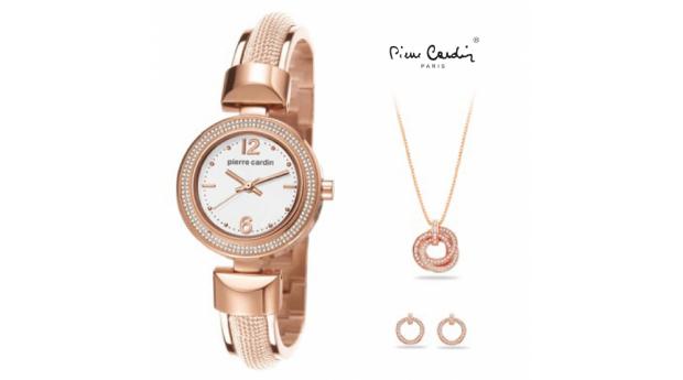 Black week. Conjunto Pierre Cardin® Classic Charm Rose Gold  -  Relógio  -  Colar