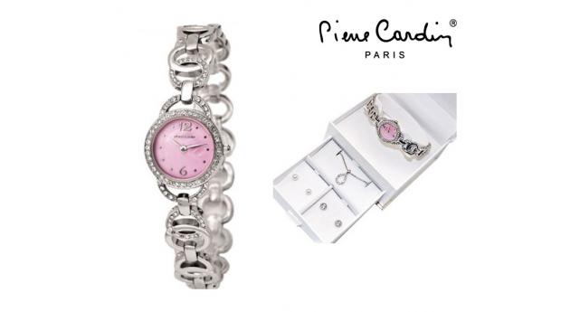 Conjunto Pierre Cardin® Cristals Pink  -  Relógio  -  Colar  -  2 Brincos