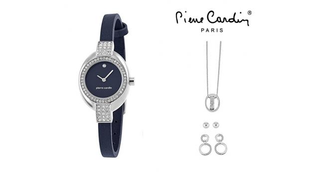 Conjunto Pierre Cardin® Cristals Blue  -  Relógio  -  Colar  -  2 Brincos