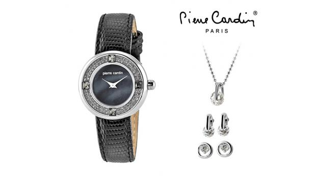Conjunto Pierre Cardin® Blue Pearl  -  Relógio  -  Colar  -  2 Brincos