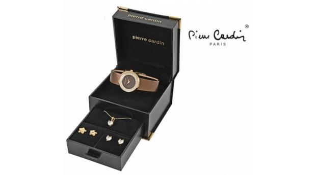 Conjunto Pierre Cardin® Brown Stars  -  Relógio  -  Colar  -  4 Brincos