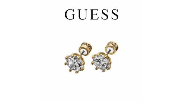 Guess® Brincos Dourados com Cristal