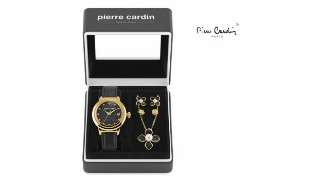 Conjunto Pierre Cardin® Petals Black  -  Gold  -  Relógio  -  Colar  -  4 Brincos
