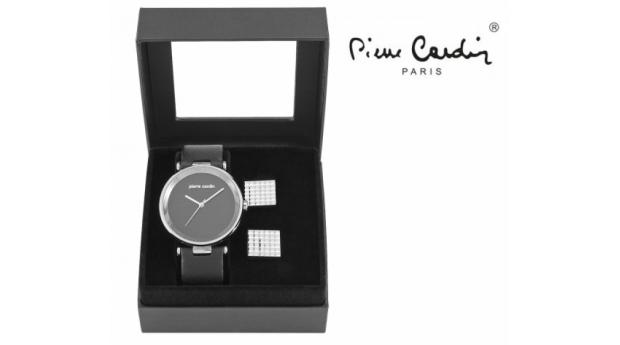 Conjunto Pierre Cardin® Black & Gray Classic  -  Relógio  -  2 Botões de Punho