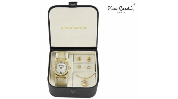 Conjunto Pierre Cardin® Golden Heart Circle  -  Relógio  -  Colar  -  4 Brincos