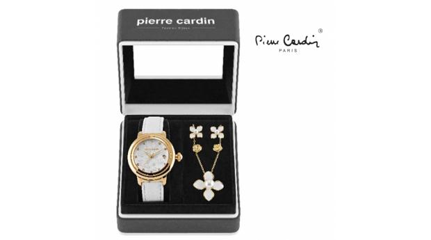 Conjunto Pierre Cardin® Flowers White  -  Gold  -  Relógio  -  Colar  -  4 Brincos