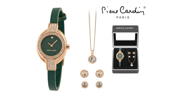 Conjunto Pierre Cardin® Green Silver Crystal  -  Relógio  -  Colar  -  4 Brincos