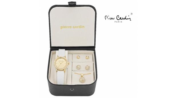 Conjunto Pierre Cardin® Women´s White Gold Crystal  -  Relógio  -  Colar  -  4 Brincos