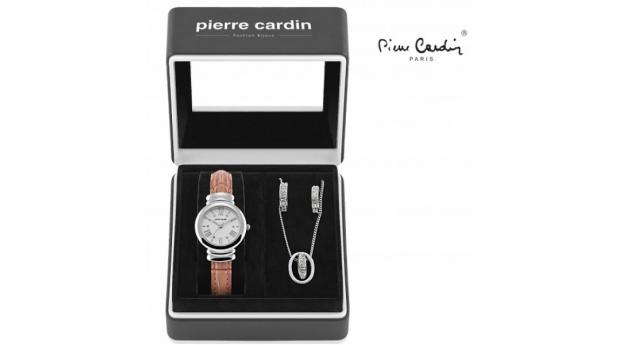 Conjunto Pierre Cardin® Brown Wood  -  Relógio  -  Colar  -  2 Brincos