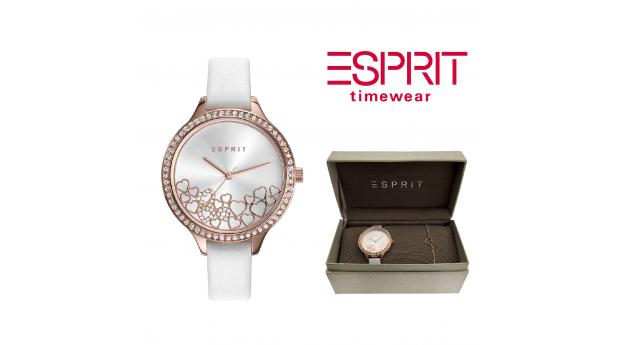Relógio Esprit Conjunto Coração Rosa Dourado  -  Com Oferta Pulseira
