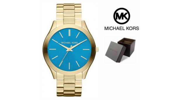Relógio Michael Kors® Slim Runway Dourado & Azul