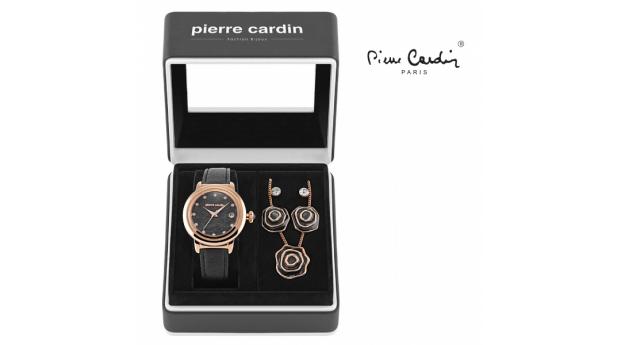 Conjunto Pierre Cardin Flowers Preto  -  Rosa Dourado  -  Relógio  -  Colar  -  4 Brincos