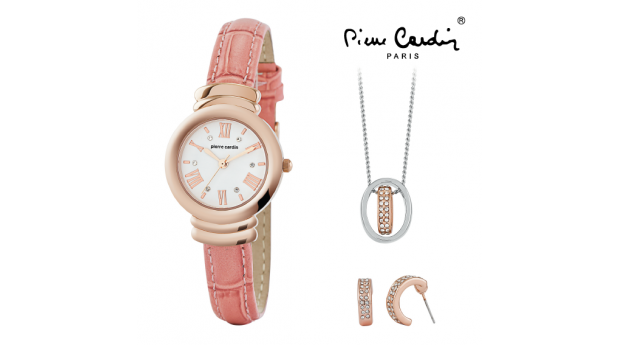Conjunto Pierre Cardin Rosa    -  Relógio  -  Colar  -  Brincos