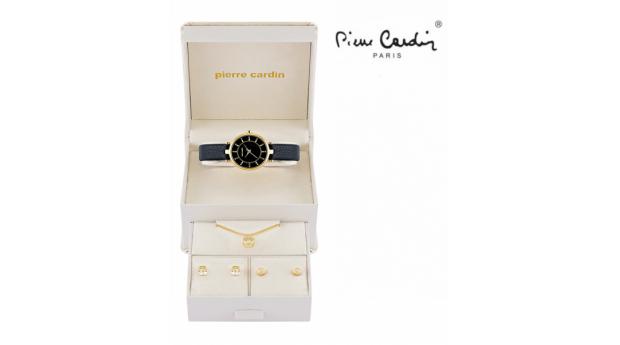 Conjunto Pierre Cardin® Relógio Black Gold  -  Colar  -  4 Brincos