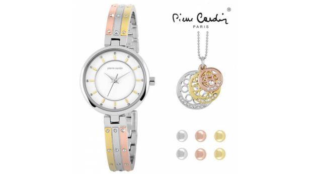 Conjunto Pierre Cardin Versatile Dourado  -  Rosa Dourado & Prateado  -  Relógio  -  Colar  -  6 Brincos
