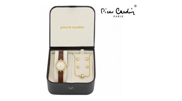 Conjunto Pierre Cardin Clássico Dourado Love  -  Relógio  -  Colar  -  4 Brincos