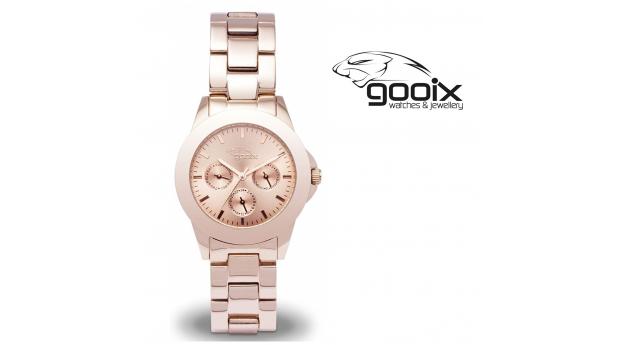 Desconto Black Friday! Relógio Gooix® Adissa Classic Dourado Rosa  -  5ATM