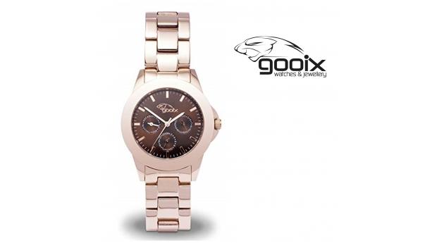 Desconto Black Friday! Relógio Gooix® Adissa Classic Dourado Rosa  -  Mostrador Castanho  -  5ATM