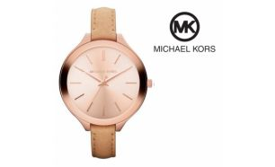 Desconto Black Friday! Relógio Michael Kors® Slim Runway Rose Gold Dial Brown | 5ATM