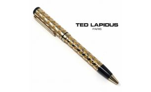 Caneta Ted Lapidus Paris® S5601402D | Retractable Ballpoint Pen Gold Plated with Black Tip