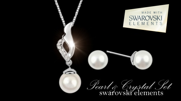 Colar e Brincos 'Fresh Water Pearl Style' com Cristais Swarovski Elements!(Portes Grátis)