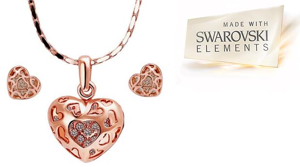 Conjunto Colar e Brincos Madalyn Heart com Cristais Swarovski Elements! (Portes Incluídos)
