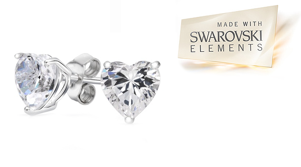 Brincos  Solitaire Heart  com Cristais Swarovski Elements! (Portes Incluídos)