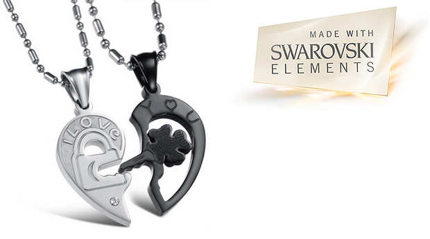 Colar Duplo  Key of Love com Cristais Swarovski Elements! (Portes Incluídos)