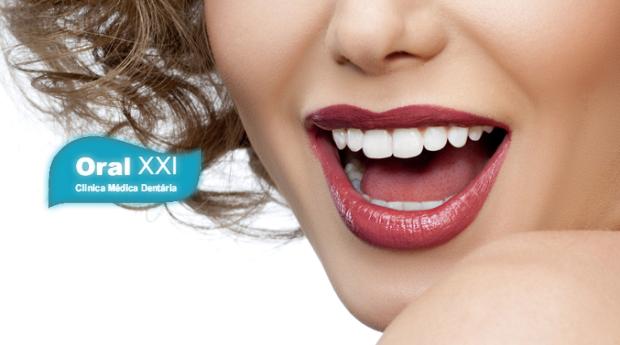 Branqueamento,Flúor, Limpeza Dentária com Polimento e Jacto de Bicarbonato na Clínica Oral XXI