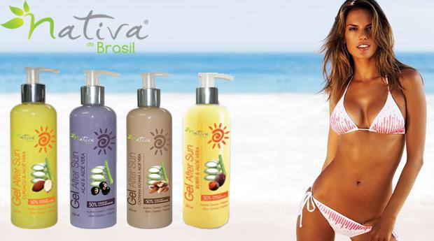 Gel After Sun Enriquecido com Aloé Vera da Nativa Brasil! 4 Aromas Disponíveis!