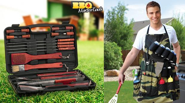 Conjunto de Acessórios Barbecue! Mala BBQ Master Tools e Avental!